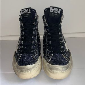 Authentic golden goose high top navy blue sparkle